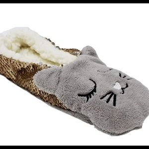 Cat Reversible Sequins Slippers Small sz 5 6 7 New